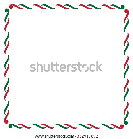 Christmas border in green and red - stock vector