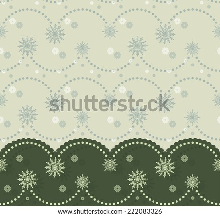 Christmas border with festoon and snowflakes can be used for cards, banners, invitations  - stock vector