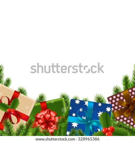 Christmas Border With Gradient Mesh, Vector Illustration - stock vector