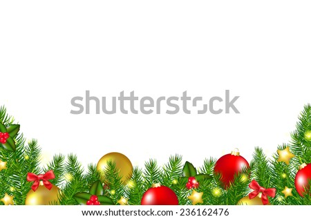 Christmas Border With Holly Berry With Gradient Mesh, Vector Illustration - stock vector