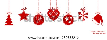 Christmas border with Xmas decoration - stock vector