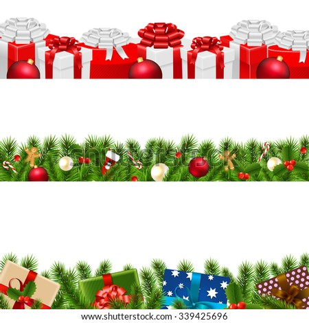 Christmas Borders Big Set With Gradient Mesh, Vector Illustration - stock vector