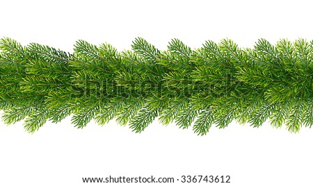 Christmas borders from fir tree branches. Vector illustration for your design - stock vector