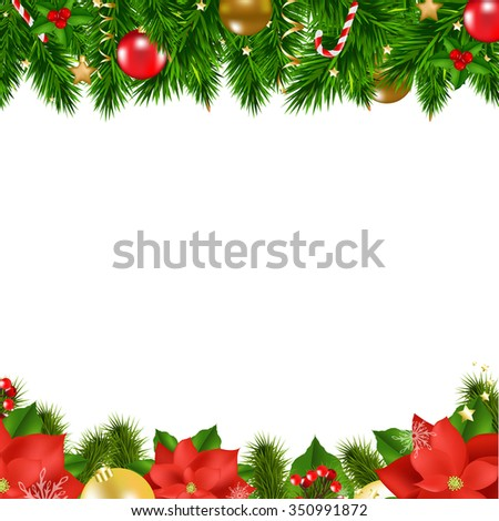 Christmas Borders With Gradient Mesh, Vector Illustration - stock vector