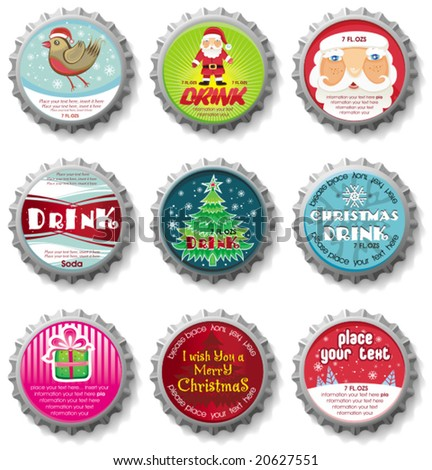 Christmas bottle caps  - vector set. To see similar, please VISIT MY GALLERY. - stock vector