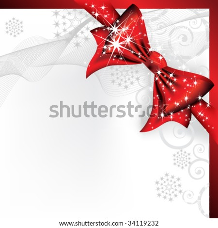 Christmas bow - stock vector