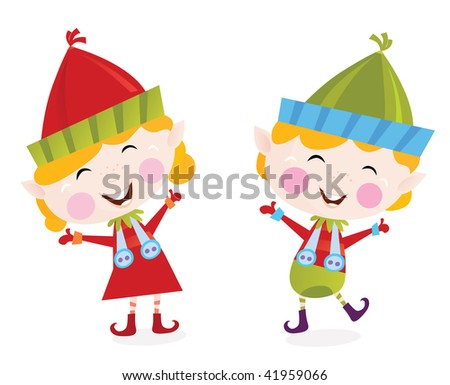 Christmas boy and girl elves. Cute small elves in christmas costumes. Vector cartoon illustration. - stock vector
