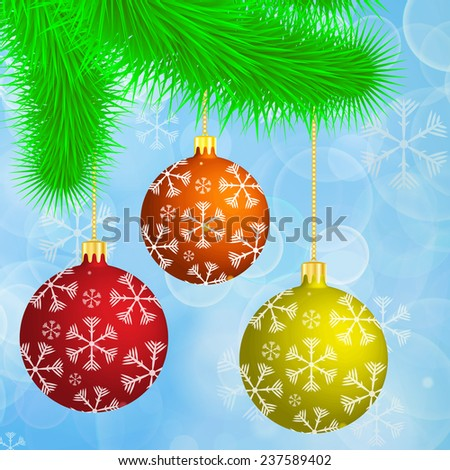 Christmas branch with hanging christmas balls on the blue bokeh festive background - stock vector