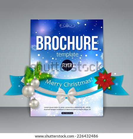 Christmas brochure template. Abstract flyer design with xmas fir tree, white bow, ribbon, poinsettia, silver balls, blurred bokeh lights and place for text. Vector illustration. - stock vector