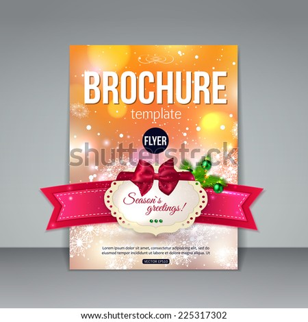 Christmas brochure template. Abstract flyer design xmas fir tree, red baw, ribbon, blurred bokeh lights and place for text. Vector illustration. - stock vector