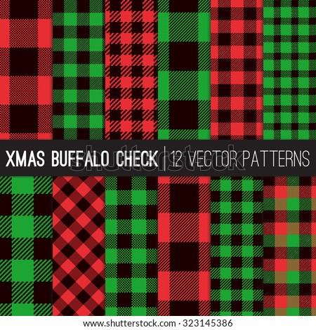 Christmas Buffalo Check Plaid Patterns. Red, Green and Black Plaid and Pixel Gingham Patterns. Trendy Hipster Style Xmas Textures. Vector EPS File Pattern Swatches made with Global Colors. - stock vector
