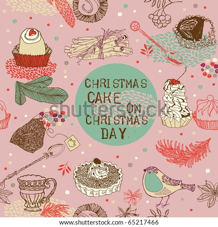 Christmas cake background - stock vector