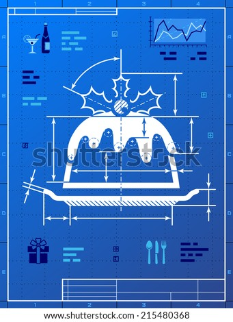 Christmas cake like blueprint drawing stylized stock vector christmas cake like blueprint drawing stylized drafting of pudding on blueprint paper vector illustration malvernweather Image collections