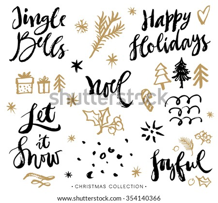 Christmas calligraphy phrases. Hand drawn design elements. Handwritten modern lettering. - stock vector