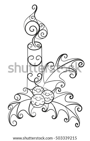 Christmas Candle With Mistletoe Abstract Vector Isolated Illustration Hand Drawn Floral Zentangle Cartoon