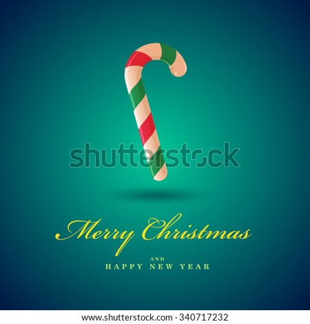 Christmas candy cane.  Merry Christmas card. Blue vector background. - stock vector