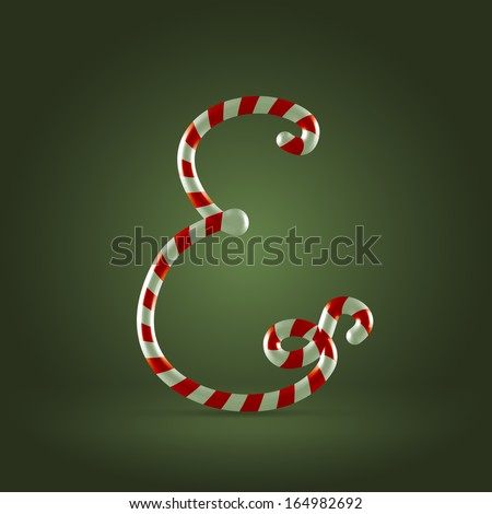 Christmas Candy cane traditional sweets abc capital letter E - stock vector