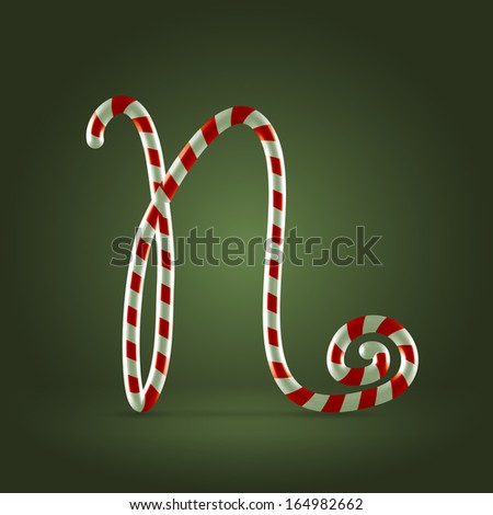 Christmas Candy cane traditional sweets abc capital letter N - stock vector