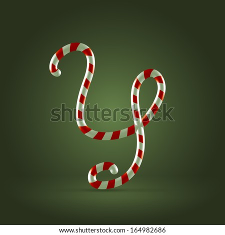 Christmas Candy cane traditional sweets abc capital letter Y - stock vector
