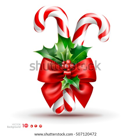 Christmas candy cane with red bow and holly berry. Vector  EPS 10.