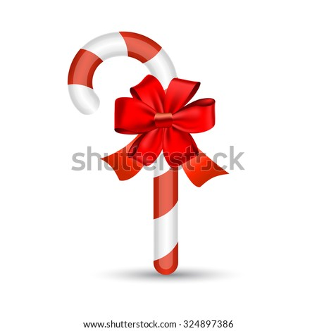 Christmas candy cane with red bow , vector illustration - stock vector