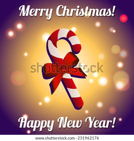 Christmas candy with bow. New Year greeting card. Congratulations On Christmas. - stock vector
