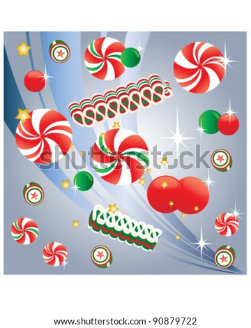 Christmas Candy with Peppermint - stock vector
