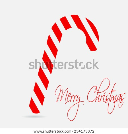 Christmas cane. Merry Christmas lettering. Flat design style. Made in vector illustration - stock vector