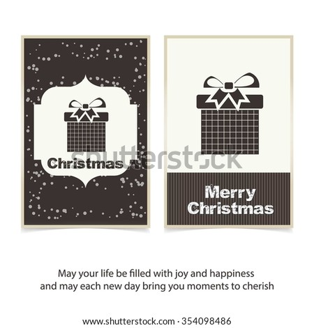 Christmas card and gift box decoration background. Vintage label Front bank Greeting card template. Vector brown Icon background illustration