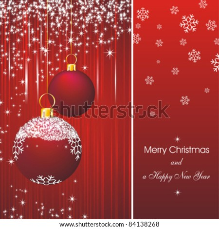Christmas card as abstract red background with new year stars and decorations