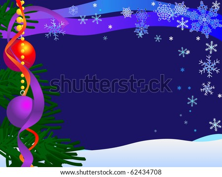Christmas Card, Background Flat For Easy Over Print with your message