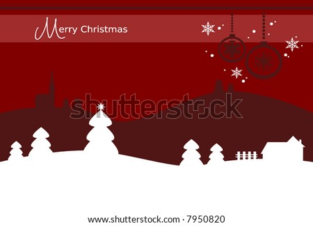 Christmas card background with christmas ornaments, snowy landscape, farm and church building (vector) - stock vector