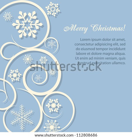 Christmas card/background with paper snowflakes - stock vector