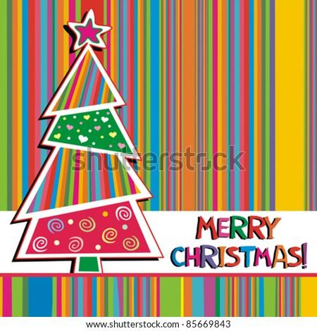 Christmas Card . Beautiful Christmas tree illustration. Vector - stock vector