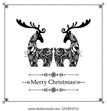 Christmas card. Celebration background with gift deers and place for your text. vector illustration  - stock vector