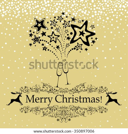 Christmas card. Celebration gold background with Two Glasses of champagne, firework and place for your text. Vector illustration - stock vector