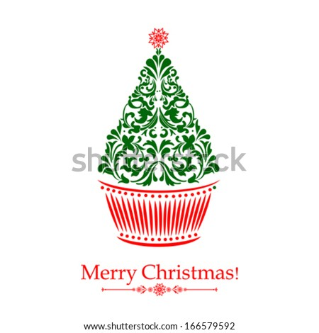 Christmas card. Christmas cupcake with  Christmas Tree isolated on white background. Vector illustration - stock vector