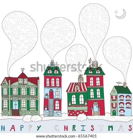 Christmas card, cute little town in winter - stock vector