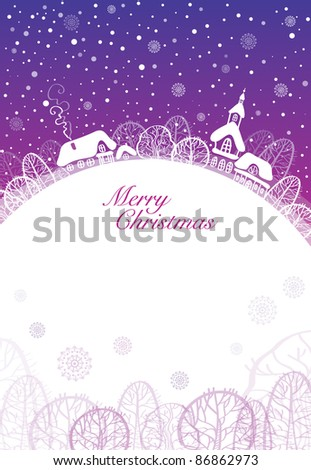 Christmas card, cute town at christmas time - stock vector