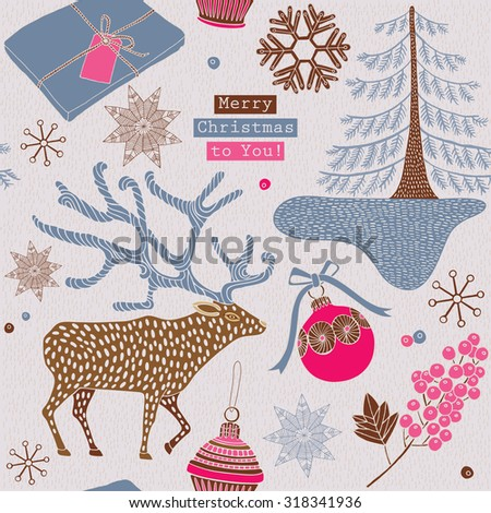 Christmas card. Deer, snowflakes and berries on beige background.