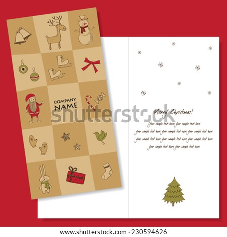 Christmas card design template - stock vector