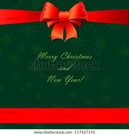 Christmas card design with bow and ribbon - stock vector