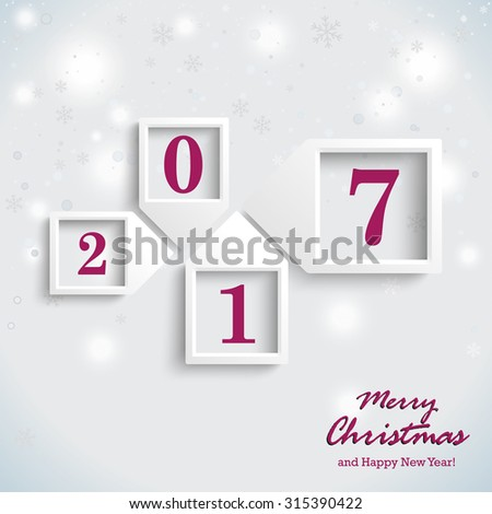 Christmas card design with snowflakes on the white background. Eps 10 vector file. - stock vector
