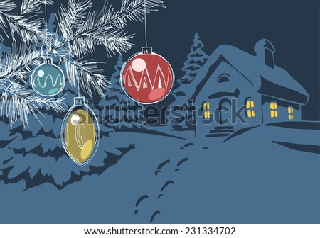 Christmas card design with snowy landscape and house on the background - stock vector