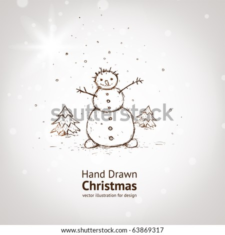 christmas card for xmas design with fur tree and hand drawn snowman. - stock vector