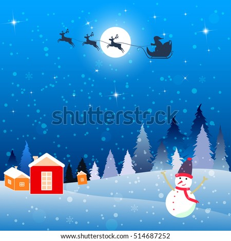 Christmas card full moon forest mountains winter in blue, happy snowman waving to Santa sleigh and reindeer flying over night village.  Vector illustration.