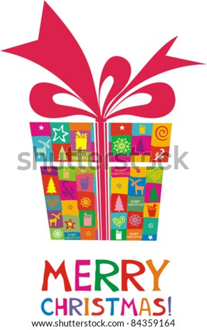 christmas card. gift box with red ribbon on white background. Vector Illustration - stock vector