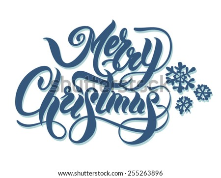 Christmas card. Hand lettering - stock vector