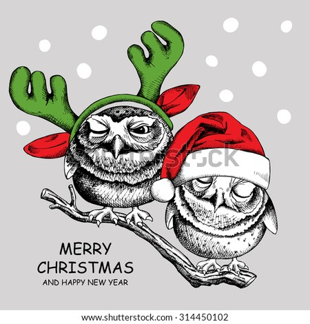 Christmas card. Image of two owls in Santa hats and reindeer antlers mask. Vector illustration. - stock vector