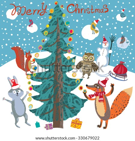 Christmas card in a cartoon style with cute fox, hare, birds, owl and squirrel decorating a Christmas tree in the forest with garlands. Under the Christmas tree gifts. Bag with gifts on sledge. - stock vector